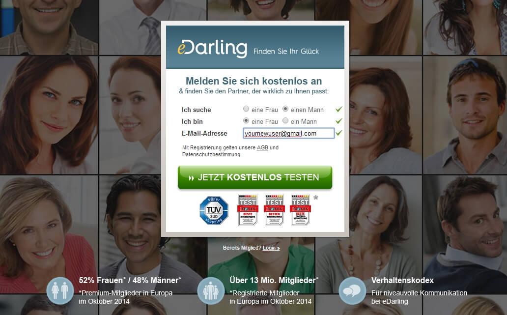 Startseite von eDarling